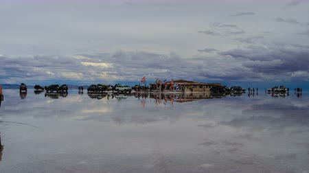 Island In The Middle Of Salar De Uyuni Стоковые видеозаписи