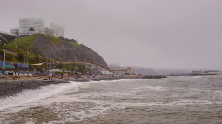 Pacific Ocean Coastline in Lima Стоковые видеозаписи