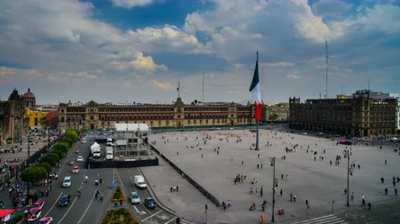 Mexico Citys Central Square, the Zocalo Стоковые видеозаписи