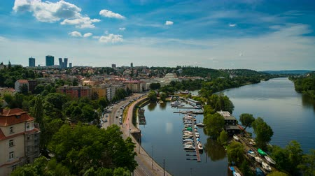 View from Visegrad in Prague on the City and Vltava River Стоковые видеозаписи