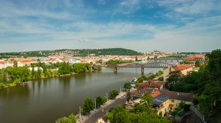 Panoramic View from Visegrad in Prague Стоковые видеозаписи