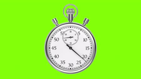 cronômetro : Animation stopwatch on a green background. A full minute.