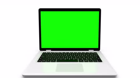 monitor počítače : Modern laptop appearing from the side, isolated on a white background. Animation with green screen and alpha channel. Dostupné videozáznamy