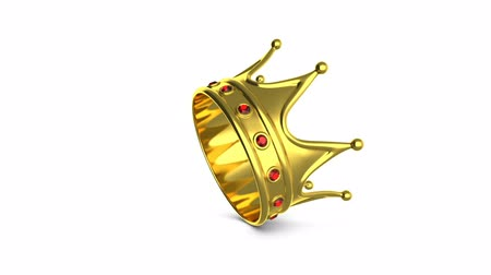 nobreza : Looped animation rotating golden crown on white background. Isolated with alpha mask