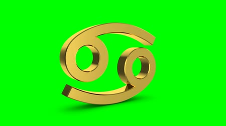 bak : Golden zodiac sign of cancer. Video footage Zodiac Cancer for video intro or horoscope video. Golden sign on a green background