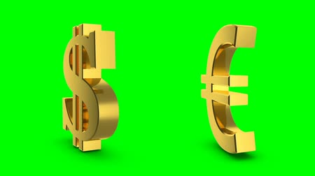 unie : Golden dollar and euro sign. Looping animation of a rotating golden dollar and euro sign on a green background.