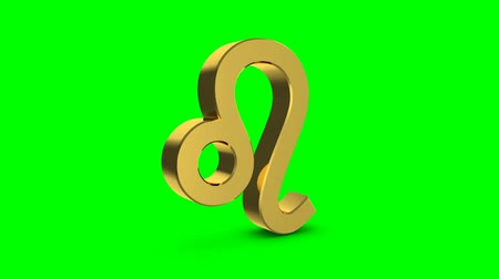 bak : Golden zodiac sign of leo. Video footage Zodiac leo for video intro or horoscope video. Golden sign on a green background