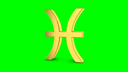 boğa : Golden zodiac sign of pisces. Video footage Zodiac pisces for video intro or horoscope video. Golden sign on a green background Stok Video