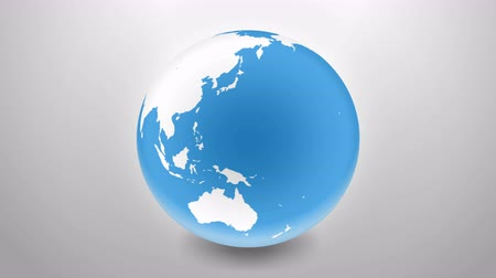 szare tło : Looped animation planet earth on grey background. 3D animation planet earth Wideo