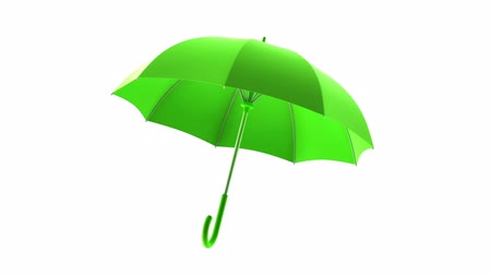 axle : Rotating green umbrella on a white background. Animation with alpha channel Stock Footage