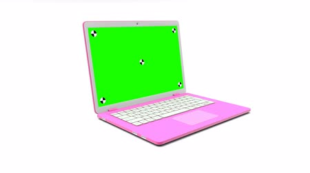přenosný : Modern pink laptop with a blank green screen appearing on a white background.  3D animation