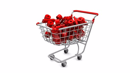 sáně : Great holiday sale at a discount. Animated shopping carts with red percentage falling from above. Animation on a white background there is an alpha channel.