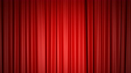 entrance : Closing and opening shiny red silk curtains on stage. Animation with chroma key.
