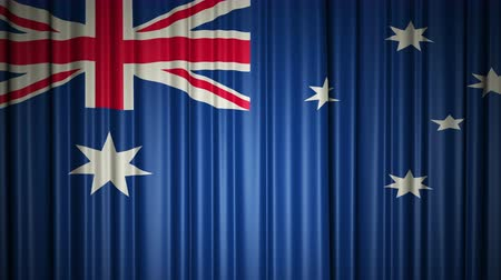 Океания : Australia flag. 3d animation of opening and closing curtains with flag.