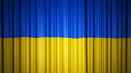 Ukraine flag. 3d animation of opening and closing curtains with flag.