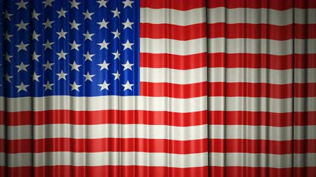 USA flag. 3d animation of opening and closing curtains with flag. Stock mozgókép