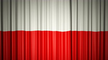 Poland flag. 3d animation of opening and closing curtains with flag.