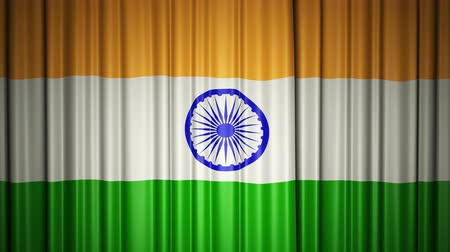 India flag. 3d animation of opening and closing curtains with flag.