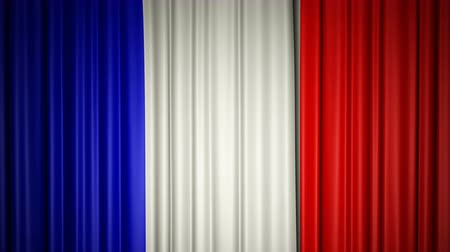 France flag. 3d animation of opening and closing curtains with flag.