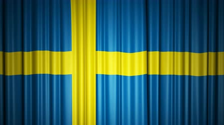 Sweden flag. 3d animation of opening and closing curtains with flag.