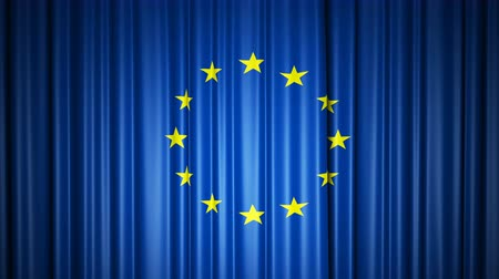 EU flag. 3d animation of opening and closing curtains with flag.
