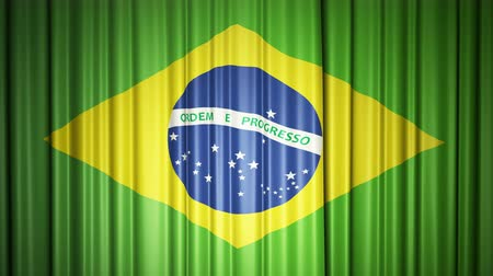 Brazil flag. 3d animation of opening and closing curtains with flag.
