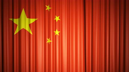 China flag. 3d animation of opening and closing curtains with flag.