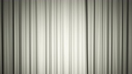 Closing and opening shiny white silk curtains on stage. Animation with chroma key.