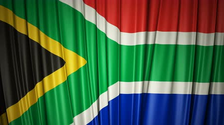 South Africa flag. 3d animation of opening and closing curtains with flag.