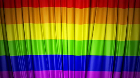 Rainbow flag. 3d animation of opening and closing curtains with flag. Stock mozgókép
