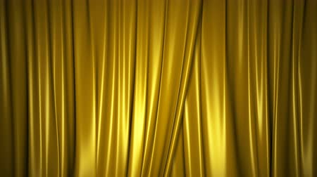 Closing and opening shiny golden silk curtains on stage. Animation with chroma key.