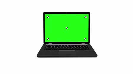 Black modern laptop appear on a white background. Opens a green screen. 4k animation