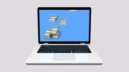 Modern laptop with dollar bar graph grow chart business concept. 3d animation on a gray background.