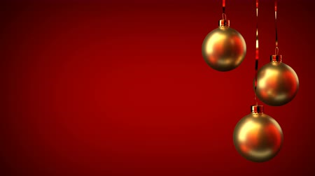 endless gold : Golden Christmas toys on a red background. Festive, christmas concept Stock Footage