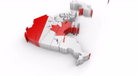 Map of Canada with flag. Formed by individual states falling from top to bottom on white. Animation and alpha channel