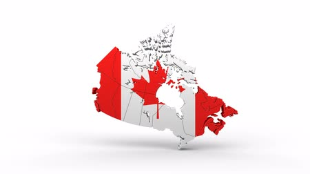 contorno : Map of Canada with flag. A quick rotation appears on a white background. Animation with Alpha Channel