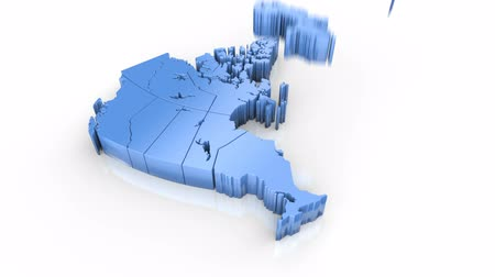 Map of Canada. Formed by individual states falling from top to bottom on white. Animation with alpha channel Stock mozgókép