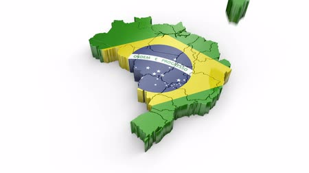 Map of Brazil with flag. Formed by individual states falling from top to bottom on white. Animation with alpha channel