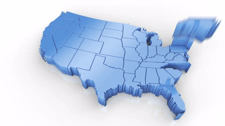 Map of USA blue. Formed by individual states falling from top to bottom on white. Animation with alpha channel