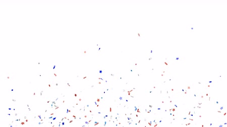 Blue, red and white festive confetti explosion falling down on a white background. Animation with alpha channel. Slow motion footage. Stock mozgókép