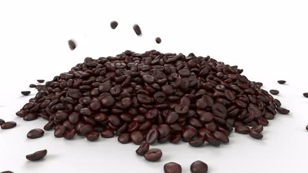 Whole coffee beans falling quickly in a pile on a white background. Hyperlapse. High Speed video with alpha channel Stock mozgókép