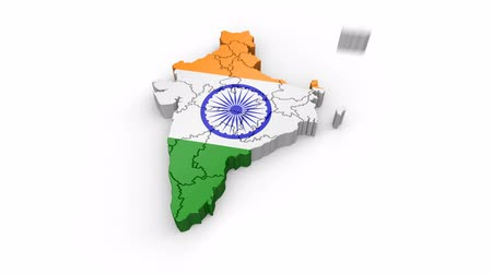 Map of India with flag. Formed by individual states, falling from top to bottom on white background. Alpha Animation