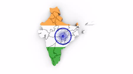 Map of India with flag, top view. Formed by individual states falling from top to bottom on white. Animation with alpha channel
