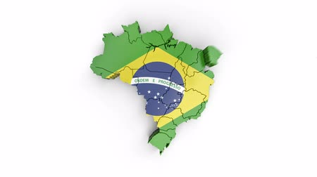 brazilian : Map of Brazil with flag, top view. Formed by individual states falling from top to bottom on white. Animation with alpha channel