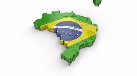 brazilian : Map of Brazil with flag. Formed by individual states, falling from top to bottom on white. Alpha Animation
