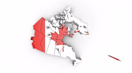 Map of Canada with flag, top view. Formed by individual states falling from top to bottom on white. Animation with alpha channel