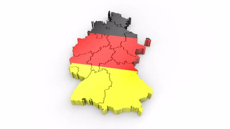 Germany map with flag. Formed by individual states, falling from top to bottom on white background. Alpha Animation