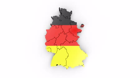 Germany map with flag, top view. Formed by individual states falling from top to bottom on white. Animation with alpha channel