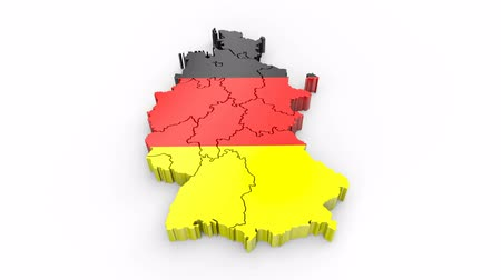Germany map with flag. Formed by individual states, falling from top to bottom on white. Alpha Animation