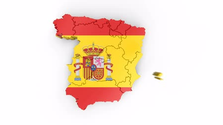 Map of Spain with flag, top view. Formed by individual states falling from top to bottom on white background. Animation with alpha channel